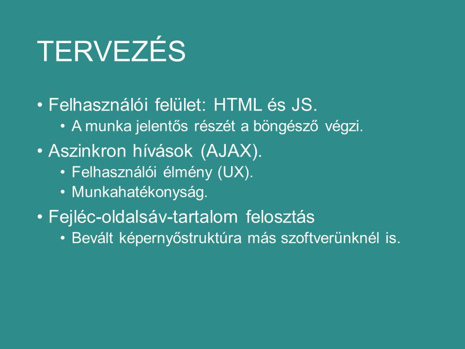 TERVEZÉS Felhasználói felület: HTML és JS. A munka jelentős részét a böngésző végzi.