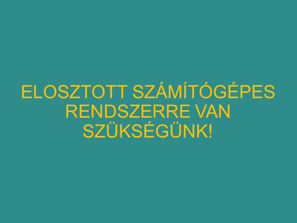ELOSZTOTT SZÁMÍTÓGÉPES RENDSZERRE VAN SZÜKSÉGÜNK!