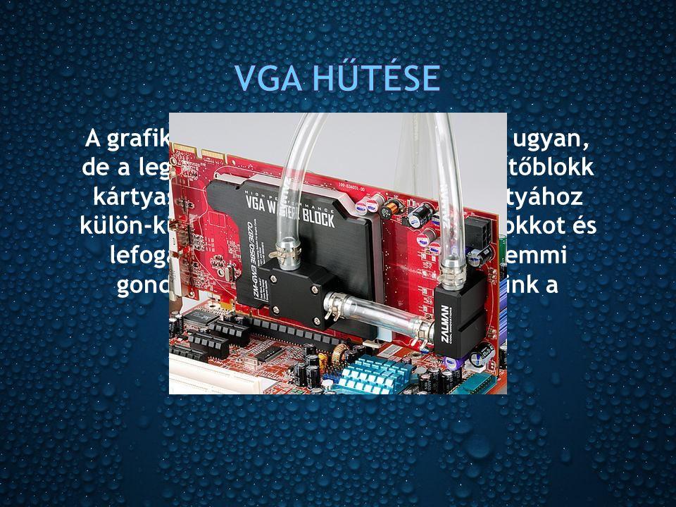 A grafikus kártyák sem szabványosak ugyan, de a legtöbb esetben minden VGA-hűtőblokk kártyaspecifikus, azaz a legtöbb kártyához külön-külön elkészítik a megfelelő blokkot és lefogatást.