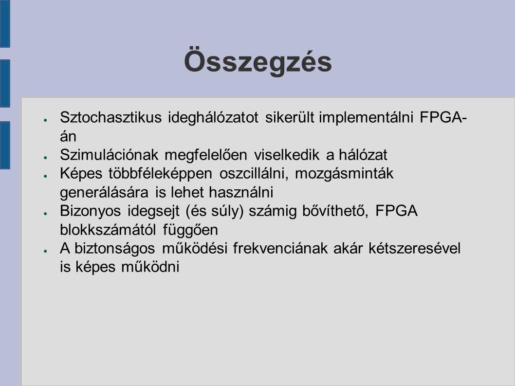 Összegzés ● Sztochasztikus ideghálózatot sikerült implementálni FPGA- án ● Szimulációnak megfelelően viselkedik a hálózat ● Képes többféleképpen oszci