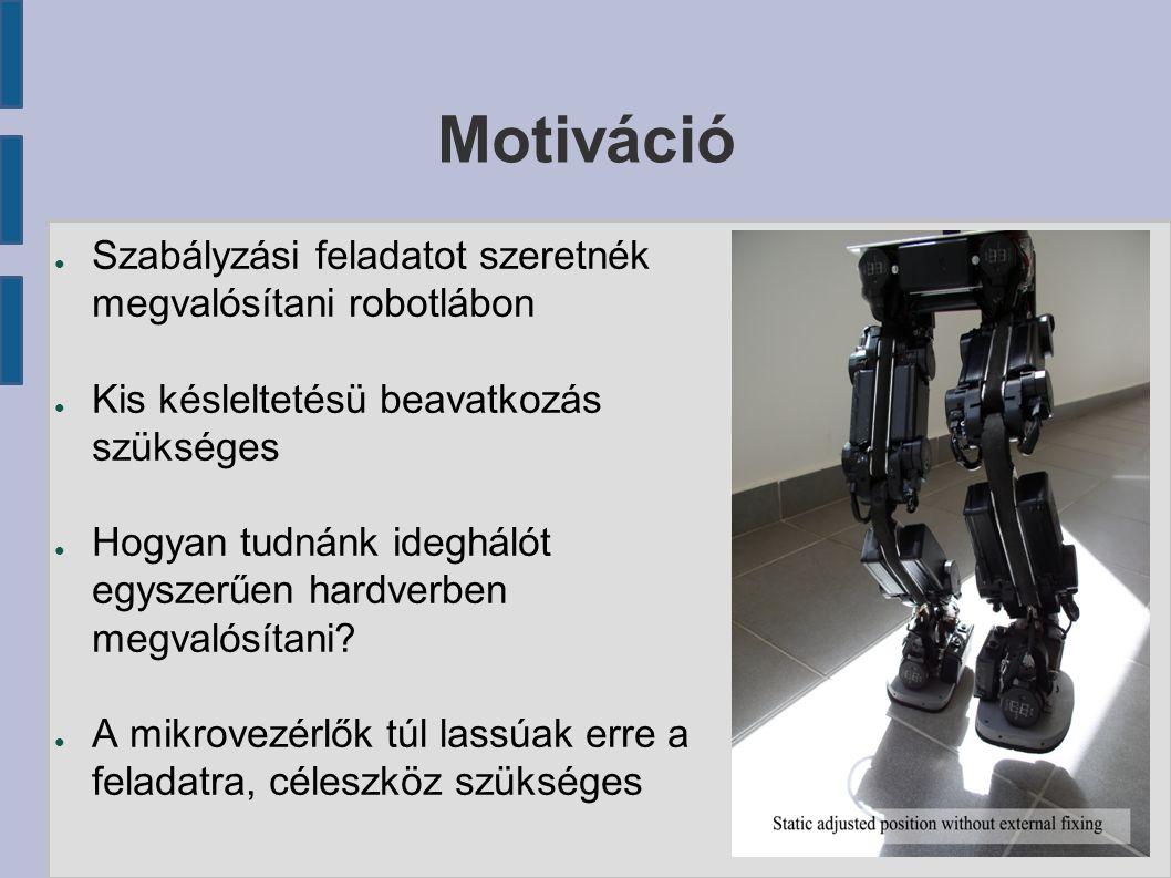 Motiváció ● Szabályzási feladatot szeretnék megvalósítani robotlábon ● Kis késleltetésü beavatkozás szükséges ● Hogyan tudnánk ideghálót egyszerűen hardverben megvalósítani.