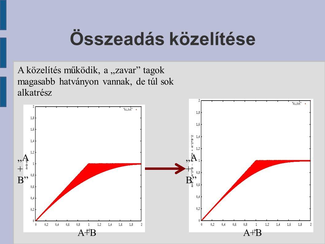 """Összeadás közelítése A közelítés működik, a """"zavar"""" tagok magasabb hatványon vannak, de túl sok alkatrész A+B """"A + B"""""""