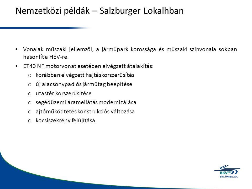 Nemzetközi példák – Salzburger Lokalhban Vonalak műszaki jellemzői, a járműpark korossága és műszaki színvonala sokban hasonlít a HÉV-re.