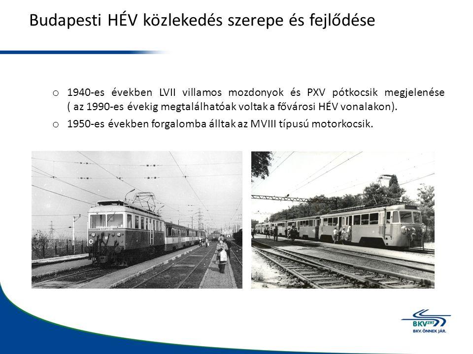 Budapesti HÉV közlekedés szerepe és fejlődése o 1940-es években LVII villamos mozdonyok és PXV pótkocsik megjelenése ( az 1990-es évekig megtalálhatóak voltak a fővárosi HÉV vonalakon).