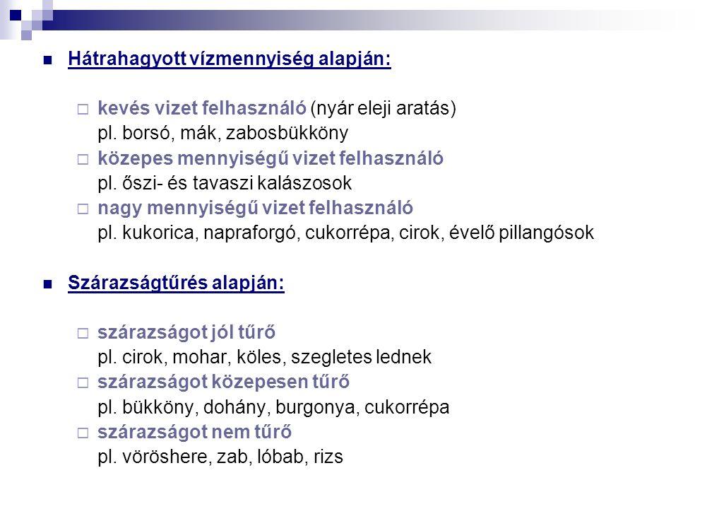 Hátrahagyott vízmennyiség alapján:  kevés vizet felhasználó (nyár eleji aratás) pl.