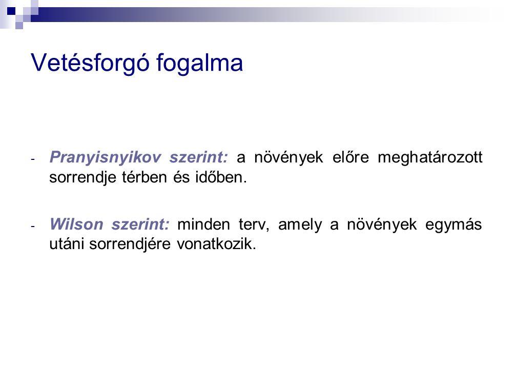 - Pranyisnyikov szerint: a növények előre meghatározott sorrendje térben és időben.