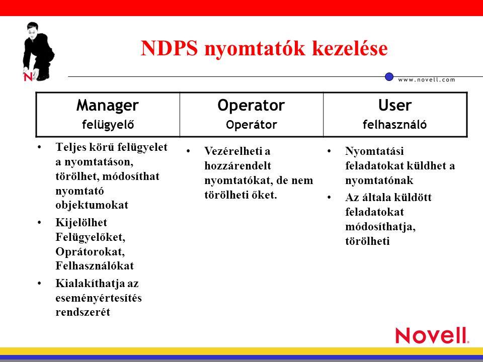 NDPS nyomtatók kezelése Teljes körű felügyelet a nyomtatáson, törölhet, módosíthat nyomtató objektumokat Kijelölhet Felügyelőket, Oprátorokat, Felhasználókat Kialakíthatja az eseményértesítés rendszerét Manager felügyelő Operator Operátor User felhasználó Vezérelheti a hozzárendelt nyomtatókat, de nem törölheti őket.