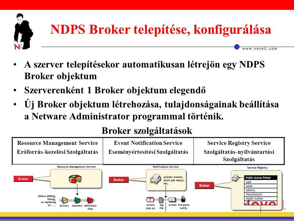NDPS Broker telepítése, konfigurálása A szerver telepítésekor automatikusan létrejön egy NDPS Broker objektum Szerverenként 1 Broker objektum elegendő Új Broker objektum létrehozása, tulajdonságainak beállítása a Netware Administrator programmal történik.