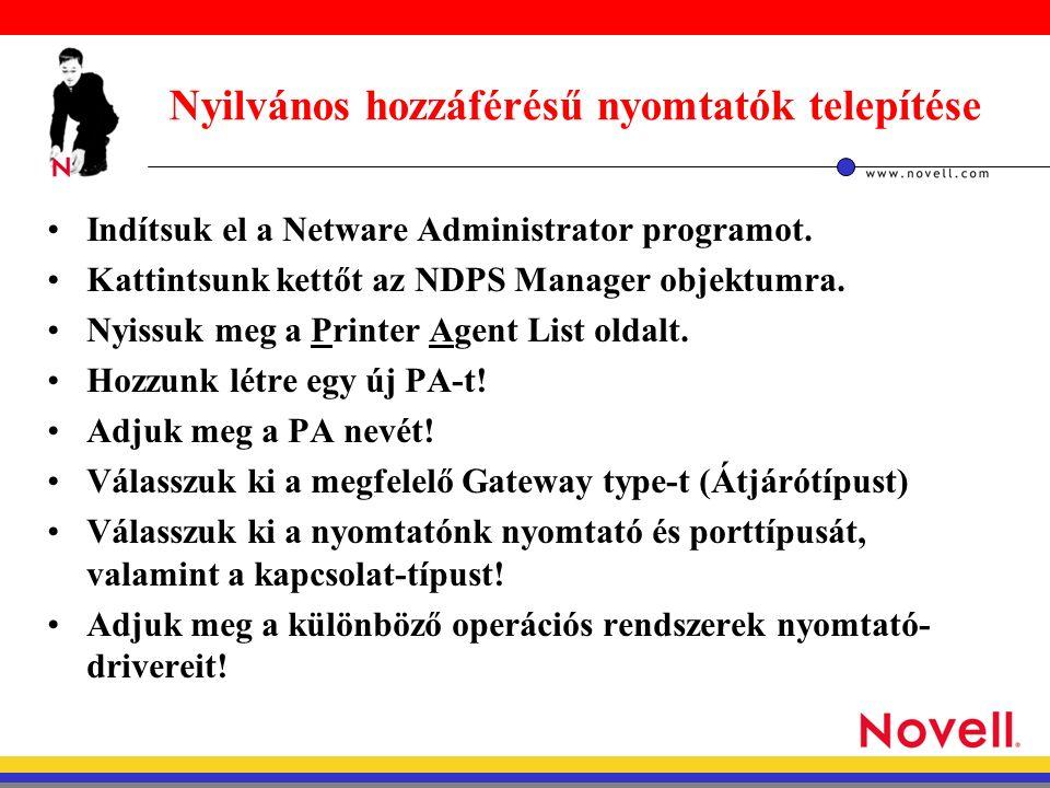 Nyilvános hozzáférésű nyomtatók telepítése Indítsuk el a Netware Administrator programot.