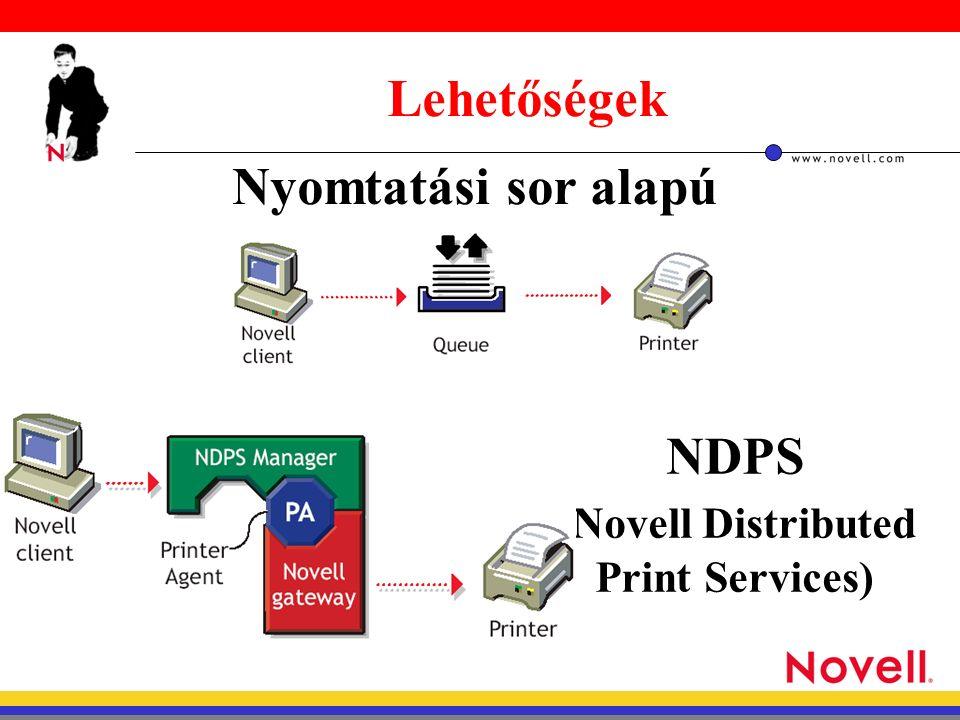 Lehetőségek Nyomtatási sor alapú NDPS ( Novell Distributed Print Services)
