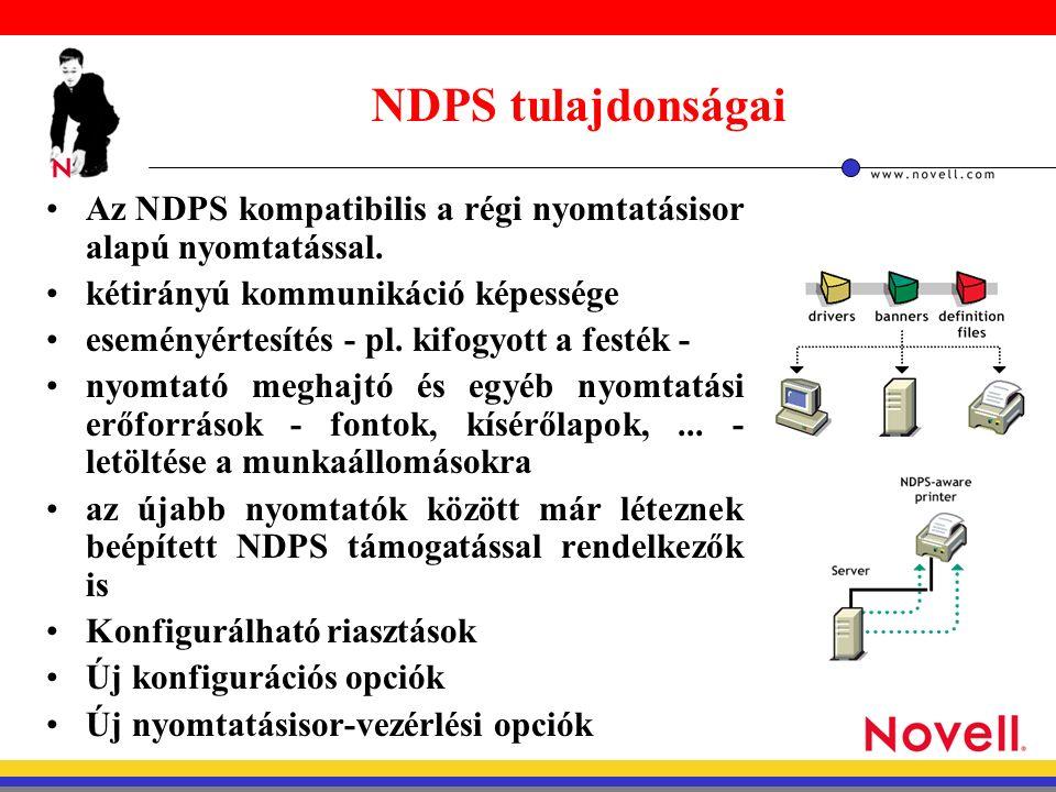 NDPS Manager telepítése, konfigurálása Netware Administrator-ral hozzunk létre az adott konténerben egy NDPS Manager objektumot.