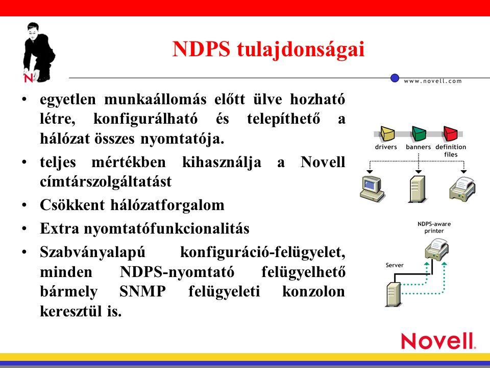 NDPS alkotó elemei nyomtató ügynök (Printer Agent) - egy nyomtatót kezelő szoftveregység (kezeli a nyomtató feladatait, válaszol a kliensek kérdéseire, értesítést kap a nyomtatótól,ha probléma van, a nyomtatásisor alapú nyomtatásnál kiszolgálja a sorokat Átjárók (Gateway) - ha a nyomtató nem NDPS képes, akkor ez képes az NDPS parancsokat a nyomtató számára értelmes nyelvre lefordítani NDPS Manager - a szerveren lévő nyomtató ügynököket vezérli
