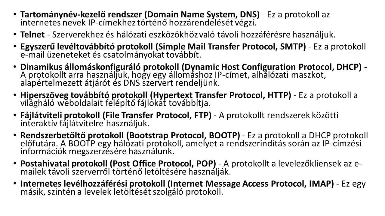 Tartománynév-kezelő rendszer (Domain Name System, DNS) - Ez a protokoll az internetes nevek IP-címekhez történő hozzárendelését végzi. Telnet - Szerve