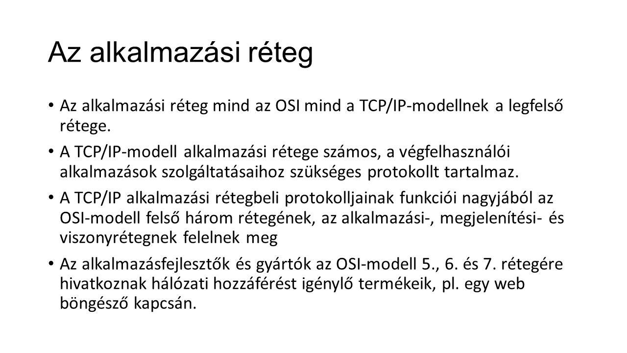 Az alkalmazási réteg Az alkalmazási réteg mind az OSI mind a TCP/IP-modellnek a legfelső rétege. A TCP/IP-modell alkalmazási rétege számos, a végfelha