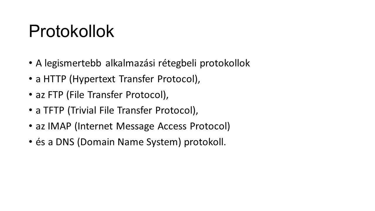 Protokollok A legismertebb alkalmazási rétegbeli protokollok a HTTP (Hypertext Transfer Protocol), az FTP (File Transfer Protocol), a TFTP (Trivial Fi