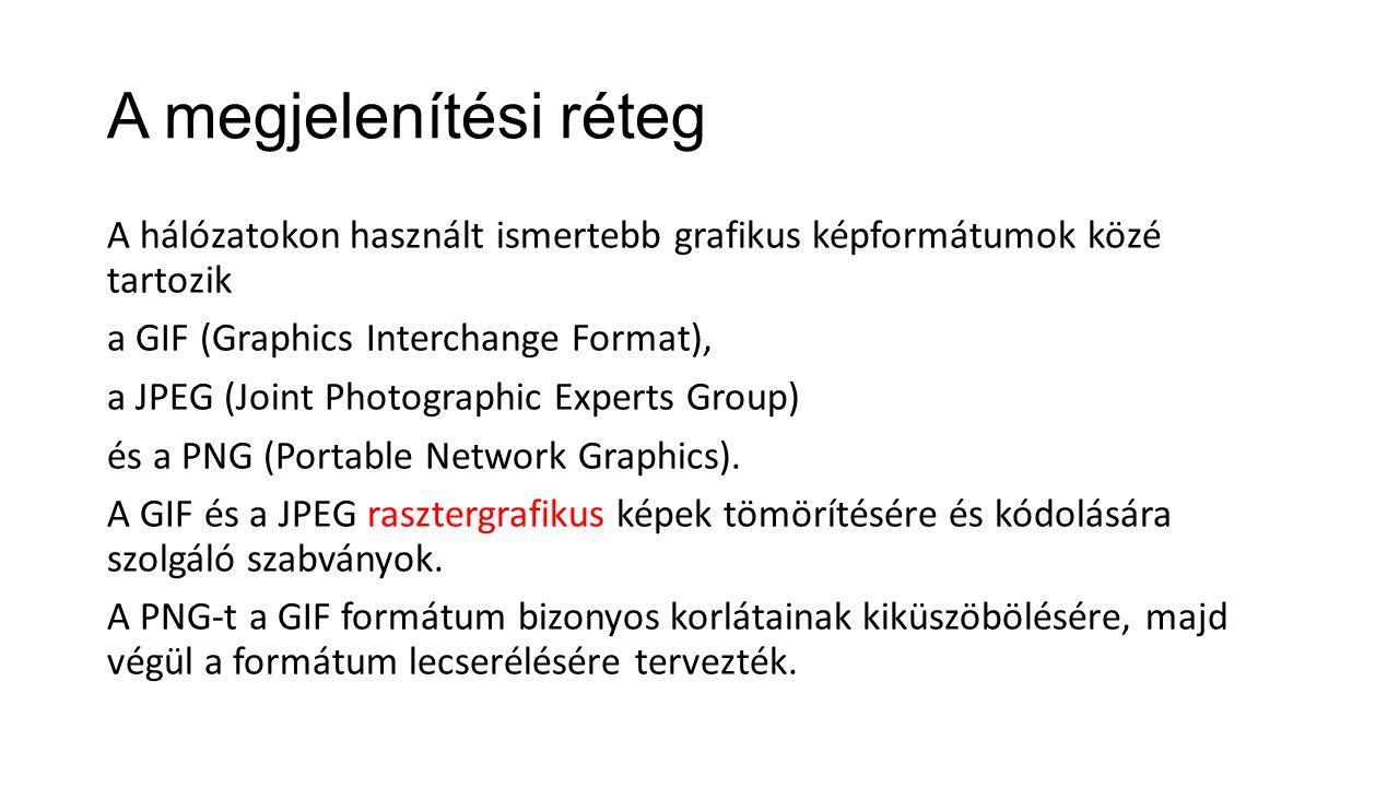A megjelenítési réteg A hálózatokon használt ismertebb grafikus képformátumok közé tartozik a GIF (Graphics Interchange Format), a JPEG (Joint Photogr