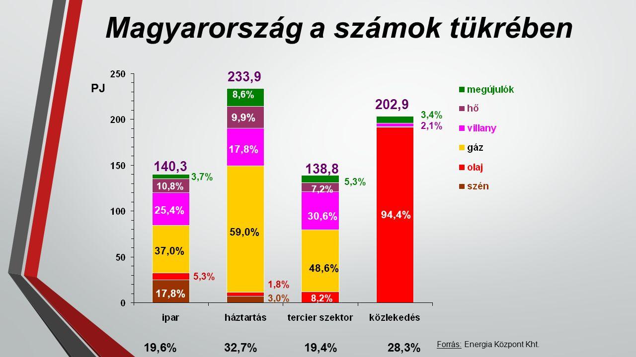 Magyarország a számok tükrében 140,3 233,9 138,8 202,9 9,9% 7,2% 94,4% 10,8% 17,8% 30,6% 17,8% 59,0% 48,6% 8,6% 1,8% 5,3% 3,4% 3,0%8,2% 19,6% 32,7% 19,4% 28,3% PJ Forrás: Energia Központ Kht.