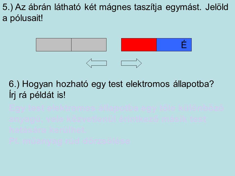 5.) Az ábrán látható két mágnes taszítja egymást. Jelöld a pólusait.