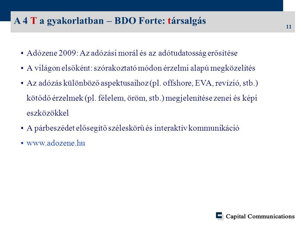 11 A 4 T a gyakorlatban – BDO Forte: társalgás Adózene 2009: Az adózási morál és az adótudatosság erősítése A világon elsőként: szórakoztató módon érzelmi alapú megközelítés Az adózás különböző aspektusaihoz (pl.