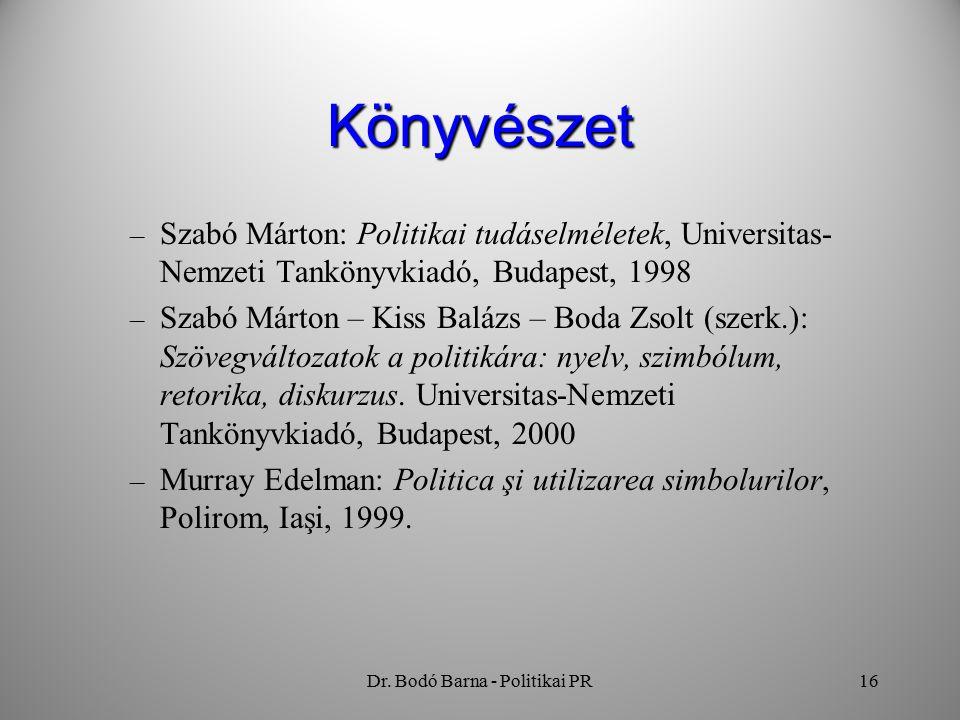 Dr. Bodó Barna - Politikai PR16 Könyvészet – Szabó Márton: Politikai tudáselméletek, Universitas- Nemzeti Tankönyvkiadó, Budapest, 1998 – Szabó Márton