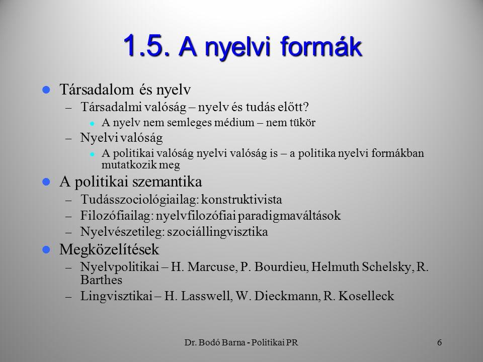 Dr. Bodó Barna - Politikai PR6 1.5.