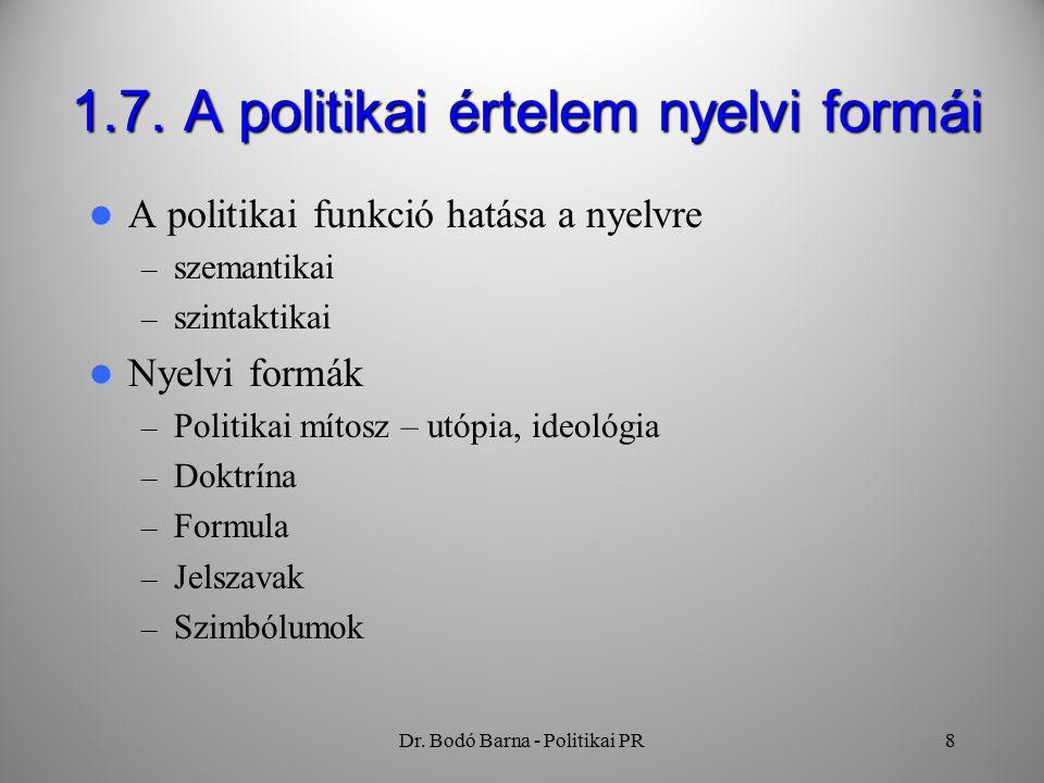 Dr. Bodó Barna - Politikai PR8 1.7.