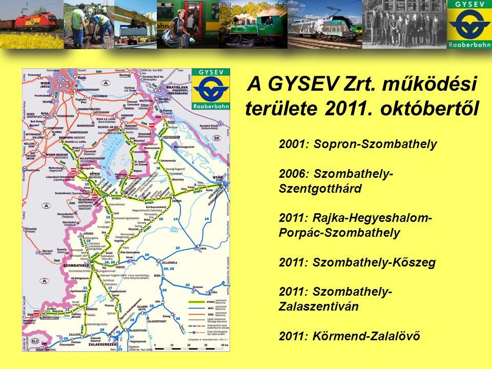 A GYSEV Zrt. működési területe 2011.