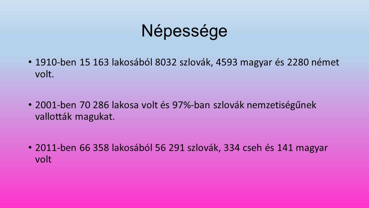 Népessége 1910-ben 15 163 lakosából 8032 szlovák, 4593 magyar és 2280 német volt.
