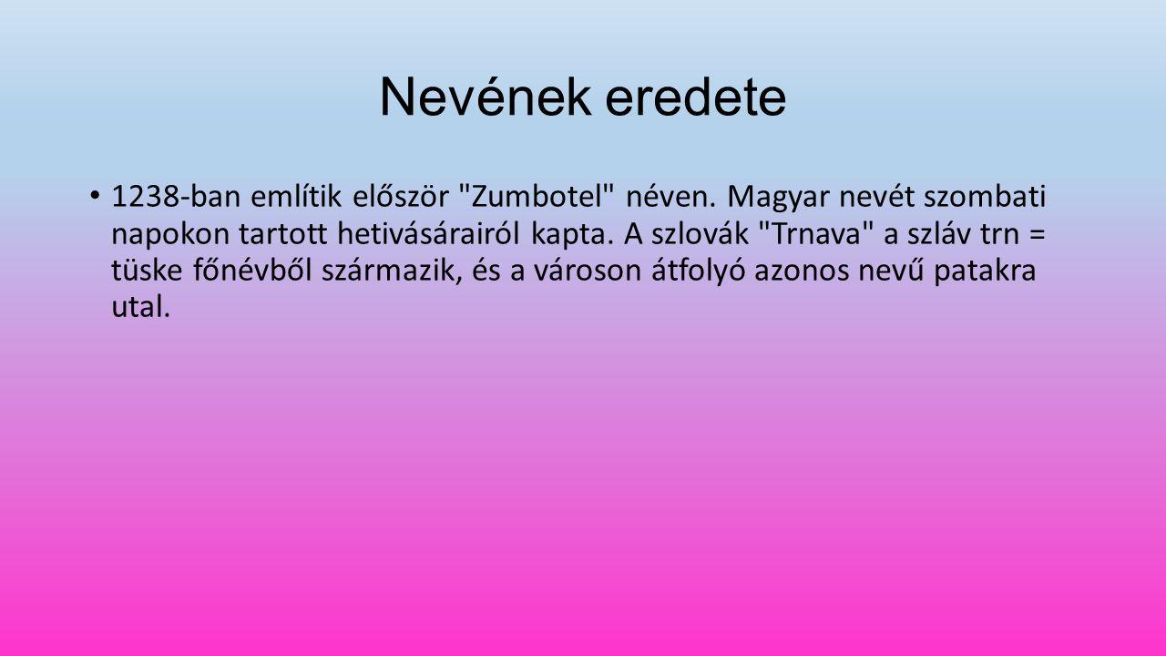 Nevének eredete 1238-ban említik először Zumbotel néven.