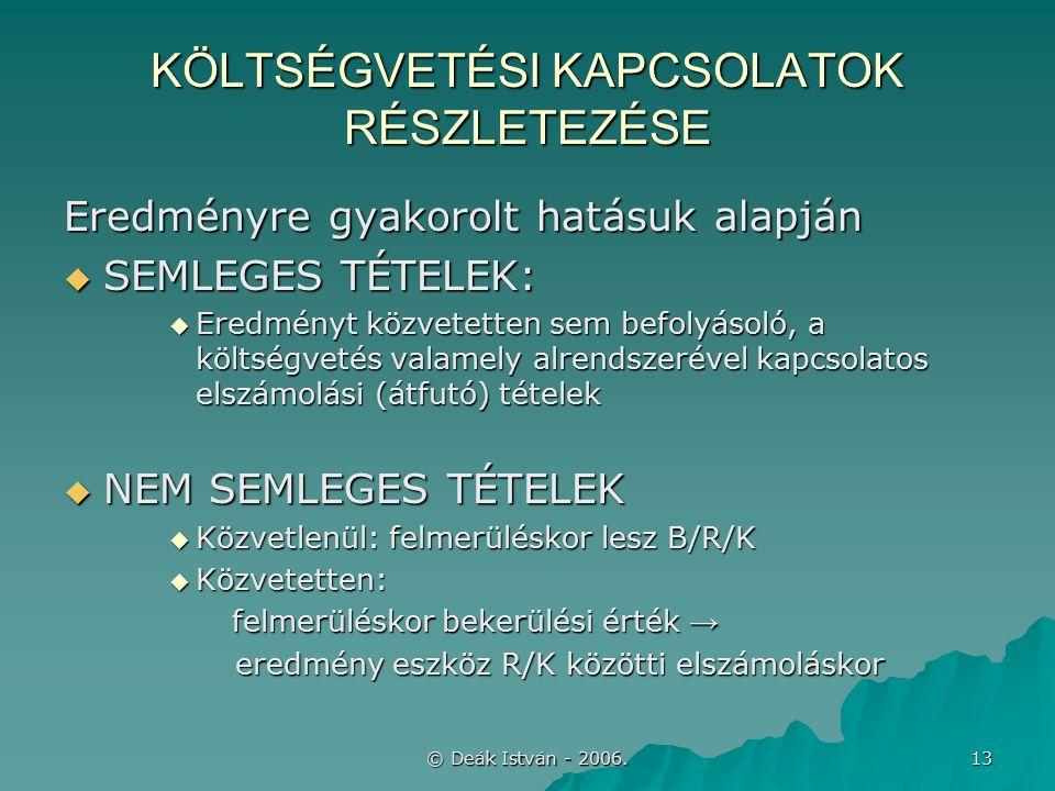 © Deák István - 2006. 13 KÖLTSÉGVETÉSI KAPCSOLATOK RÉSZLETEZÉSE Eredményre gyakorolt hatásuk alapján  SEMLEGES TÉTELEK:  Eredményt közvetetten sem b