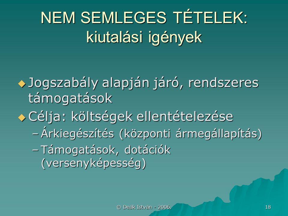 © Deák István - 2006. 18 NEM SEMLEGES TÉTELEK: kiutalási igények  Jogszabály alapján járó, rendszeres támogatások  Célja: költségek ellentételezése