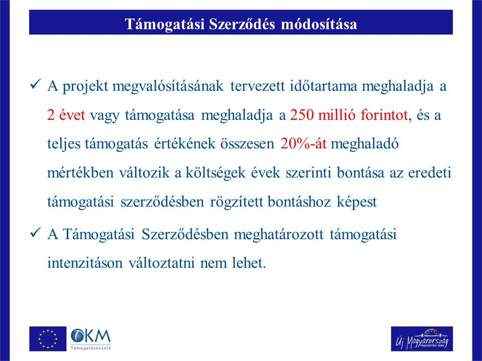 Támogatási Szerződés módosítása A projekt megvalósításának tervezett időtartama meghaladja a 2 évet vagy támogatása meghaladja a 250 millió forintot, és a teljes támogatás értékének összesen 20%-át meghaladó mértékben változik a költségek évek szerinti bontása az eredeti támogatási szerződésben rögzített bontáshoz képest A Támogatási Szerződésben meghatározott támogatási intenzitáson változtatni nem lehet.