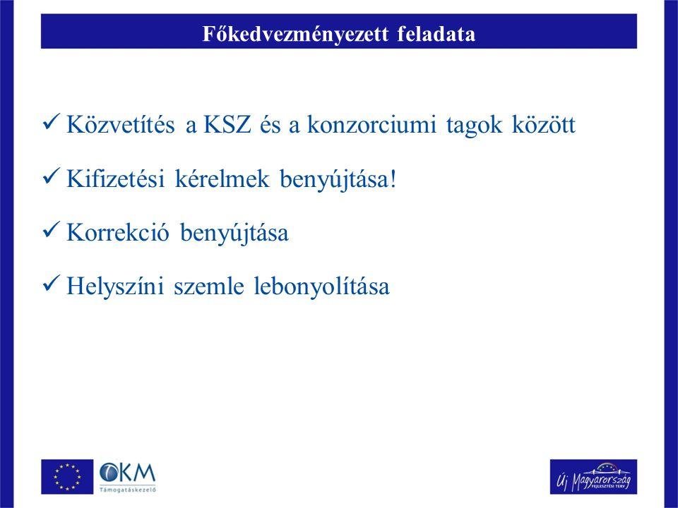 Főkedvezményezett feladata Közvetítés a KSZ és a konzorciumi tagok között Kifizetési kérelmek benyújtása.