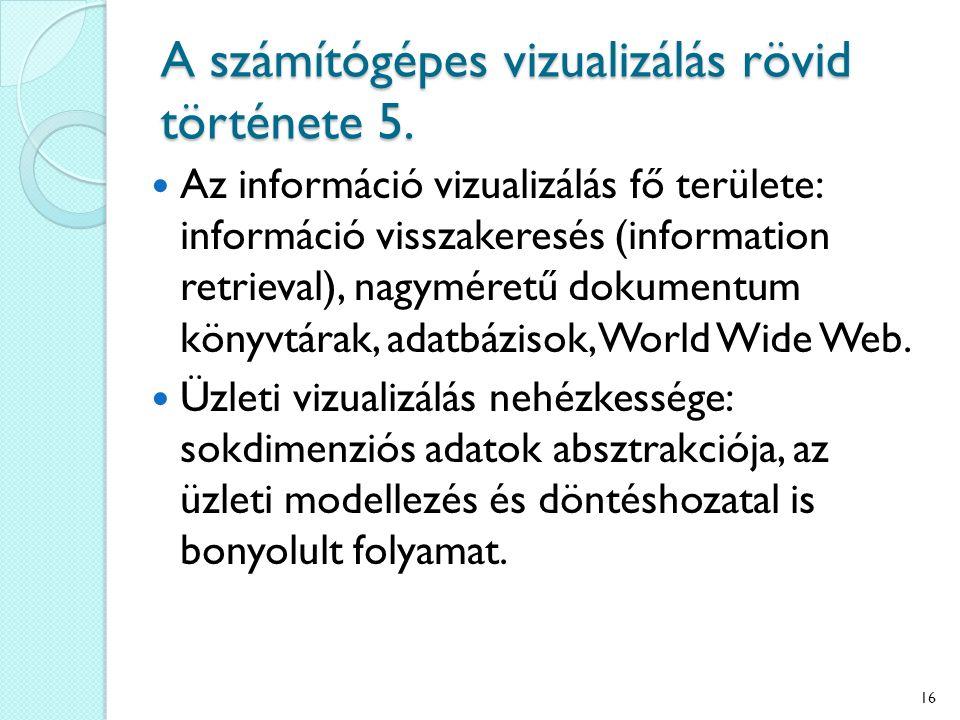 Az információ vizualizálás fő területe: információ visszakeresés (information retrieval), nagyméretű dokumentum könyvtárak, adatbázisok, World Wide Web.