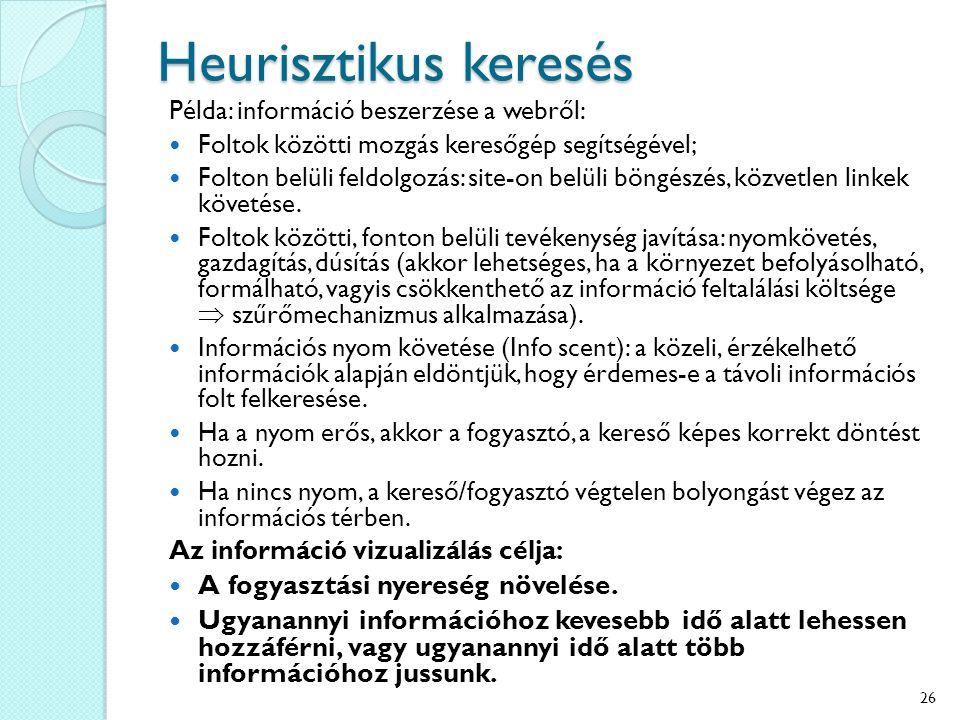 Heurisztikus keresés Példa: információ beszerzése a webről: Foltok közötti mozgás keresőgép segítségével; Folton belüli feldolgozás: site-on belüli böngészés, közvetlen linkek követése.