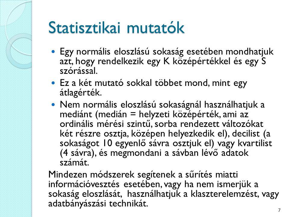 Statisztikai mutatók Egy normális eloszlású sokaság esetében mondhatjuk azt, hogy rendelkezik egy K középértékkel és egy S szórással.