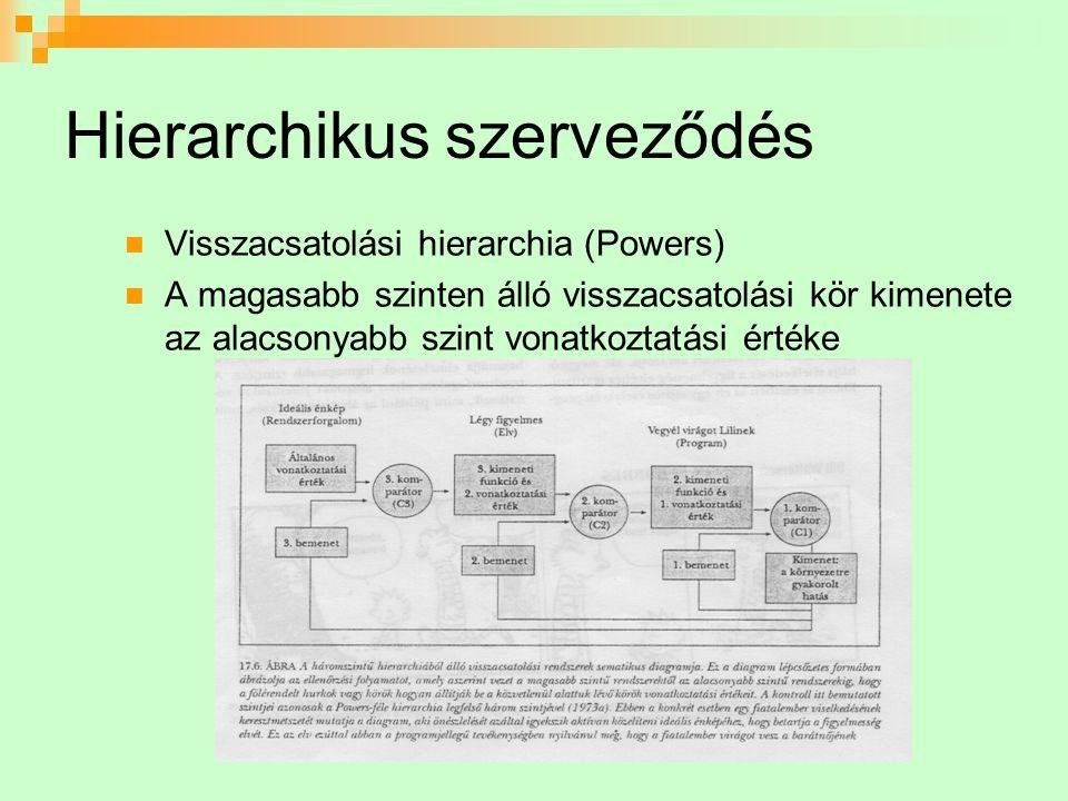 Hierarchikus szerveződés Visszacsatolási hierarchia (Powers) A magasabb szinten álló visszacsatolási kör kimenete az alacsonyabb szint vonatkoztatási értéke