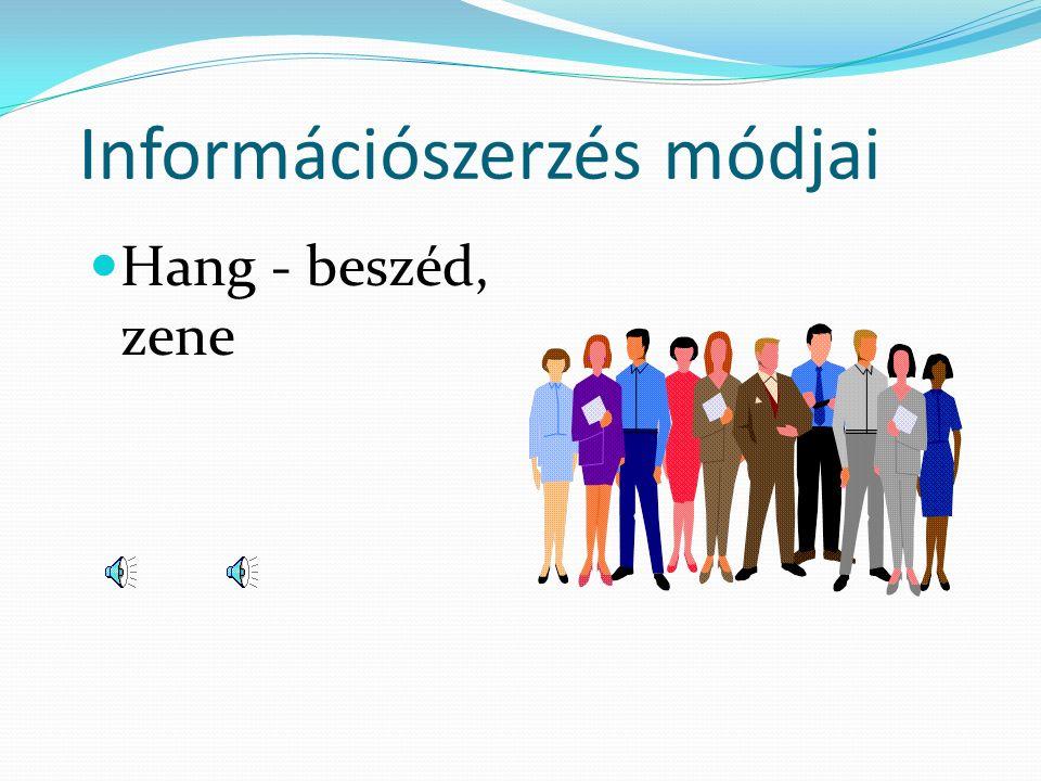 Információszerzés módjai Hang - beszéd, zene