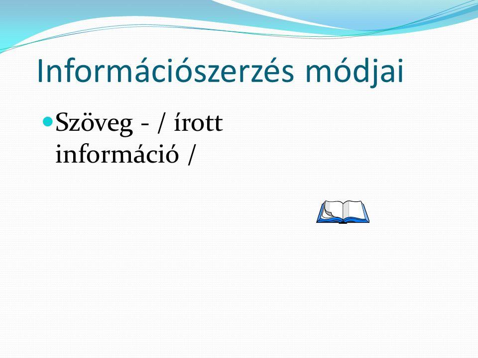 Információszerzés módjai Szöveg - / írott információ /