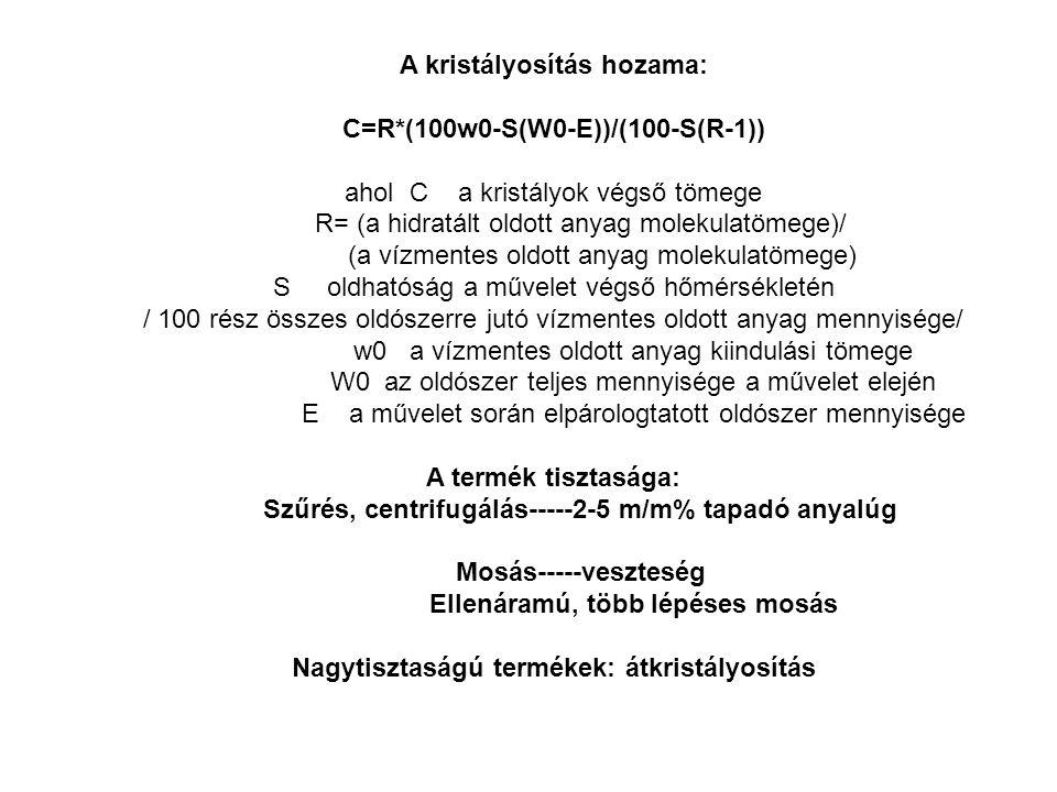 A kristályosítás hozama: C=R*(100w0-S(W0-E))/(100-S(R-1)) ahol C a kristályok végső tömege R= (a hidratált oldott anyag molekulatömege)/ (a vízmentes oldott anyag molekulatömege) S oldhatóság a művelet végső hőmérsékletén / 100 rész összes oldószerre jutó vízmentes oldott anyag mennyisége/ w0 a vízmentes oldott anyag kiindulási tömege W0 az oldószer teljes mennyisége a művelet elején E a művelet során elpárologtatott oldószer mennyisége A termék tisztasága: Szűrés, centrifugálás-----2-5 m/m% tapadó anyalúg Mosás-----veszteség Ellenáramú, több lépéses mosás Nagytisztaságú termékek: átkristályosítás