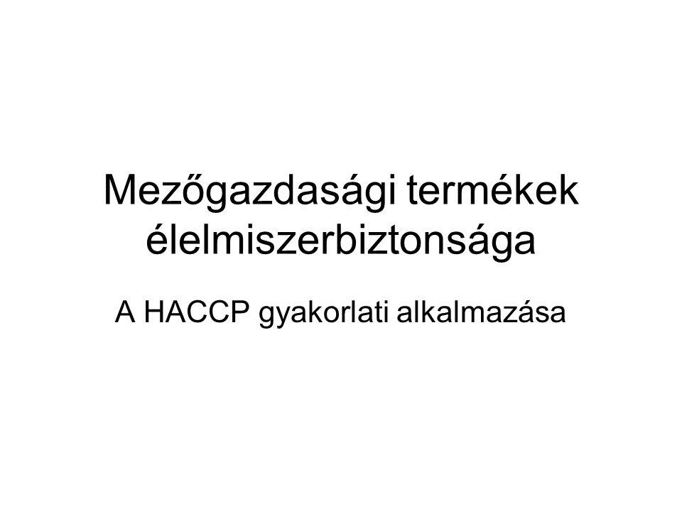 Mezőgazdasági termékek élelmiszerbiztonsága A HACCP gyakorlati alkalmazása