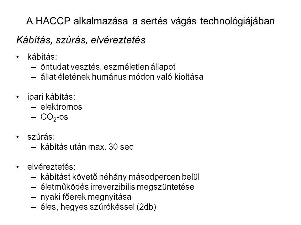 A HACCP alkalmazása a sertés vágás technológiájában Kábítás, szúrás, elvéreztetés kábítás: –öntudat vesztés, eszméletlen állapot –állat életének humánus módon való kioltása ipari kábítás: –elektromos –CO 2 -os szúrás: –kábítás után max.