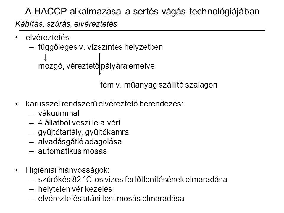 A HACCP alkalmazása a sertés vágás technológiájában Kábítás, szúrás, elvéreztetés elvéreztetés: –függőleges v.
