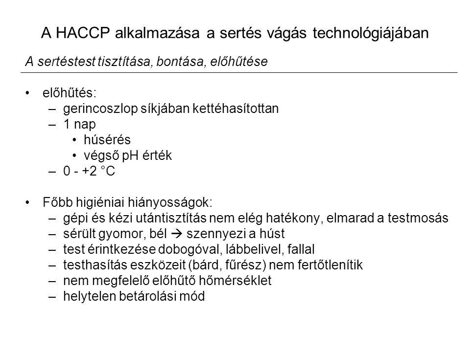 A HACCP alkalmazása a sertés vágás technológiájában A sertéstest tisztítása, bontása, előhűtése előhűtés: –gerincoszlop síkjában kettéhasítottan –1 nap húsérés végső pH érték –0 - +2 °C Főbb higiéniai hiányosságok: –gépi és kézi utántisztítás nem elég hatékony, elmarad a testmosás –sérült gyomor, bél  szennyezi a húst –test érintkezése dobogóval, lábbelivel, fallal –testhasítás eszközeit (bárd, fűrész) nem fertőtlenítik –nem megfelelő előhűtő hőmérséklet –helytelen betárolási mód
