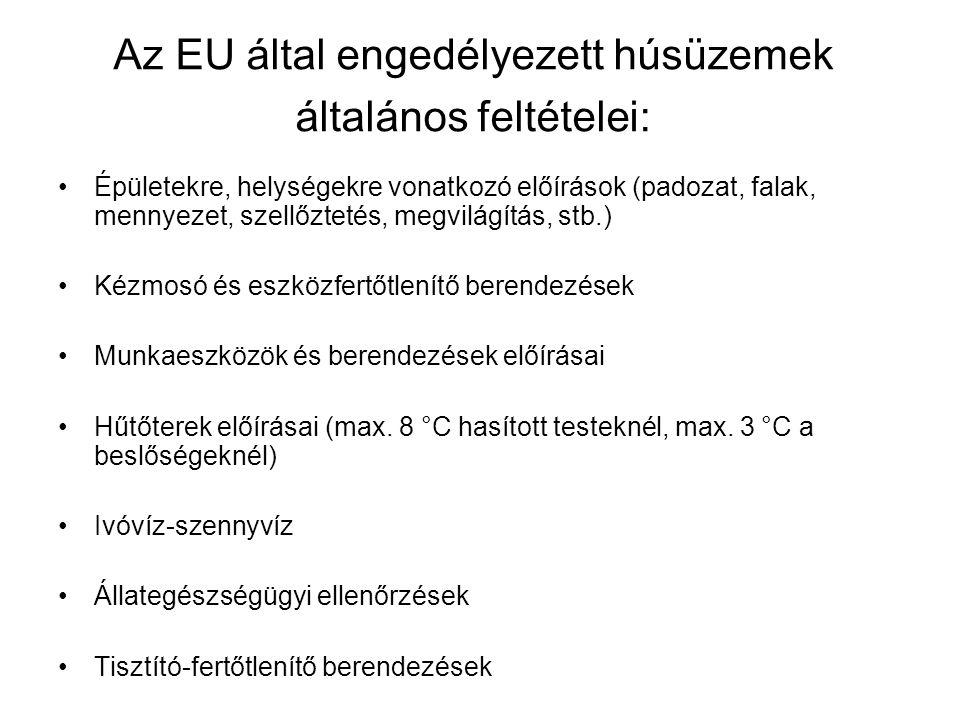 Az EU által engedélyezett húsüzemek általános feltételei: Épületekre, helységekre vonatkozó előírások (padozat, falak, mennyezet, szellőztetés, megvilágítás, stb.) Kézmosó és eszközfertőtlenítő berendezések Munkaeszközök és berendezések előírásai Hűtőterek előírásai (max.