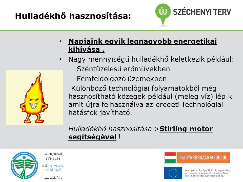 Hulladékhő hasznosítása: Napjaink egyik legnagyobb energetikai kihívása. Nagy mennyiségű hulladékhő keletkezik például: -Széntüzelésű erőművekben -Fém