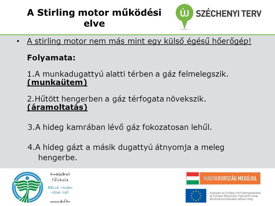 A Stirling motor működési elve A stirling motor nem más mint egy külső égésű hőerőgép! Folyamata: 1.A munkadugattyú alatti térben a gáz felmelegszik.