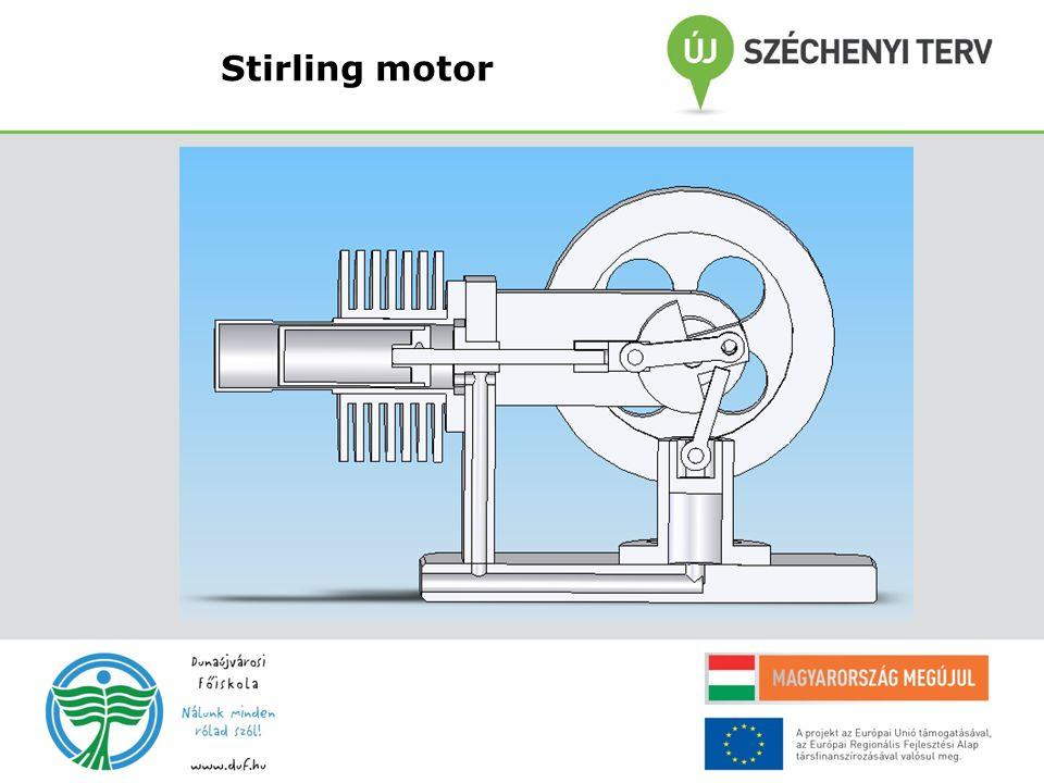 A Stirling motor termodinamikája A Stirling körfolyamat megfordítható és ilyenkor külső erővel hajtva hűtőként Viselkedik !