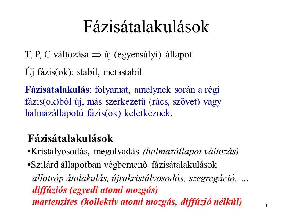 1 Fázisátalakulások Kristályosodás, megolvadás (halmazállapot változás) Szilárd állapotban végbemenő fázisátalakulások allotróp átalakulás, újrakristá