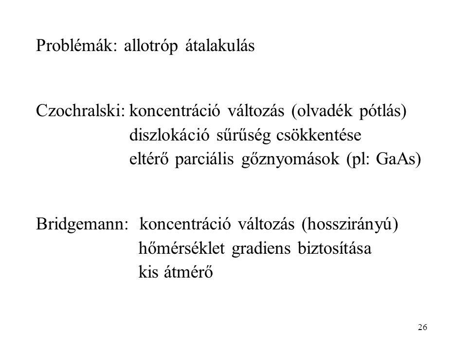 26 Problémák: allotróp átalakulás Czochralski:koncentráció változás (olvadék pótlás) diszlokáció sűrűség csökkentése eltérő parciális gőznyomások (pl: